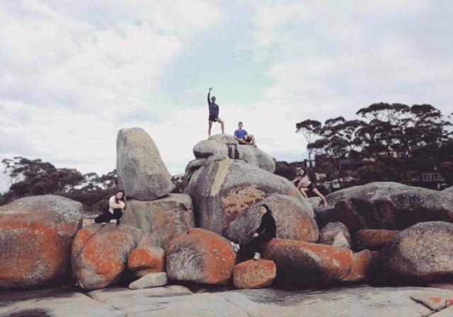 Students on rocks in Tasmania