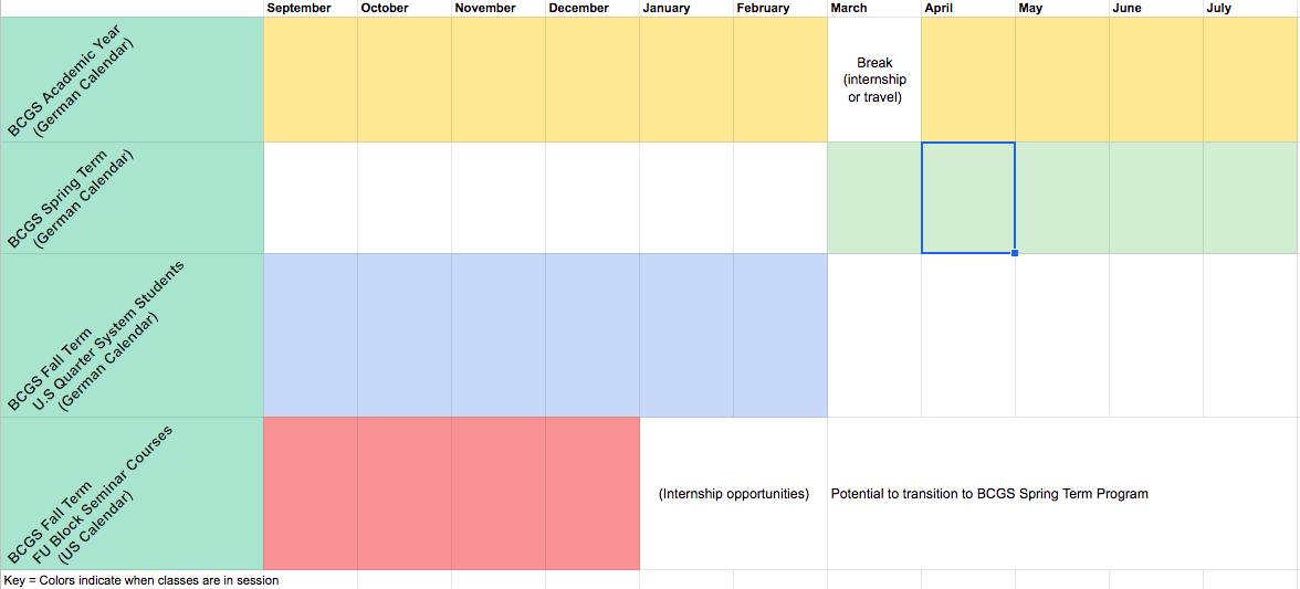 BCGS Calendar visual