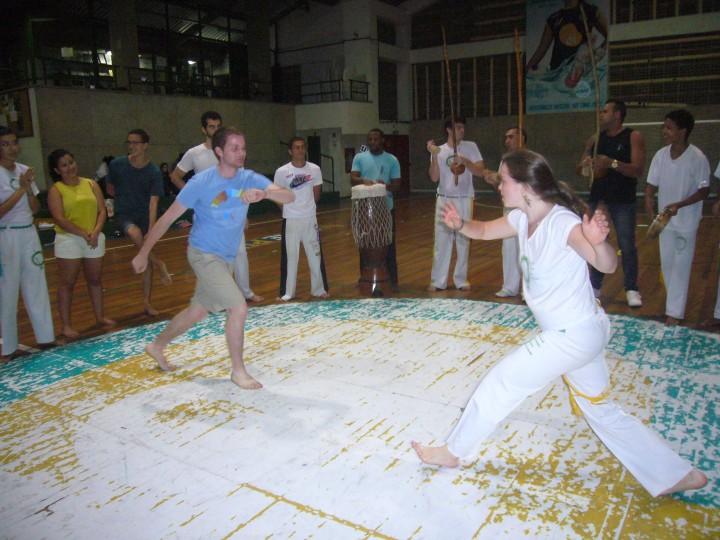 Program participant learning capoeira in Rio de Janeiro, Brazil