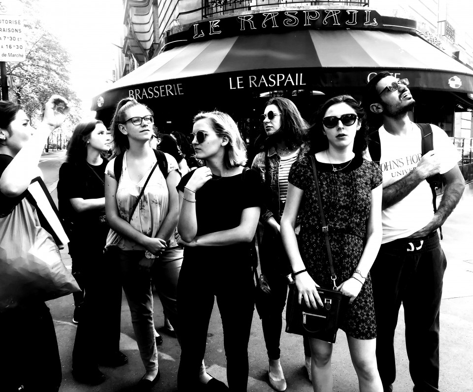 Black and white photo of students in Paris