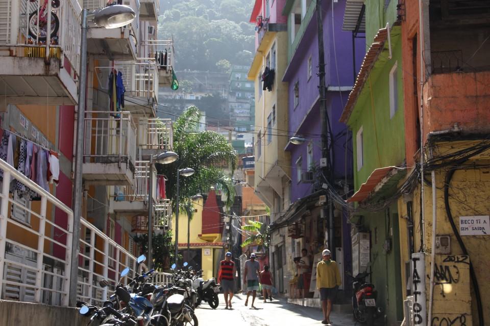 Street view of the Rochinca Community in Rio de Janeiro, Brazil