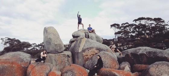 Students on rocks in Tasmania