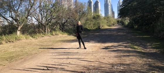Natalie Davis-Porada in front of buildings