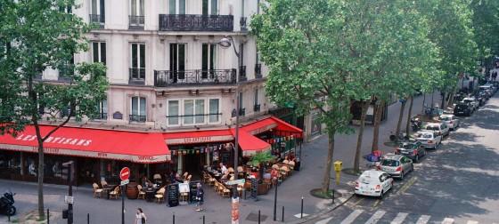 Looking down a street corner in Paris