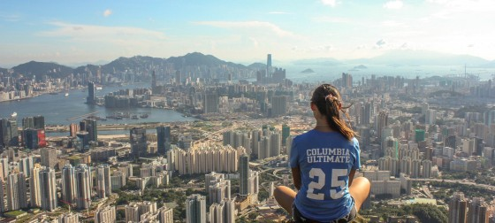Student on Mountaintop in Hong Kong