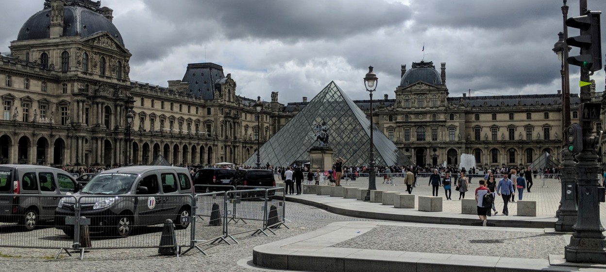 Courtyard of the Louvre showing glass pyramid