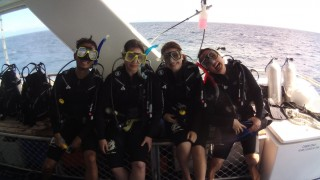 Students in scuba-diving gear