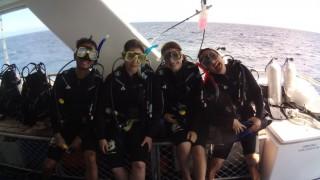 Students in scuba-diving gear