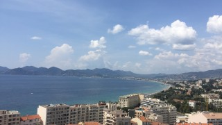 Cannes shoreline from atop a belltower