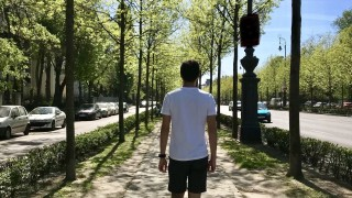 Student walking on a typical Parisian street with trees