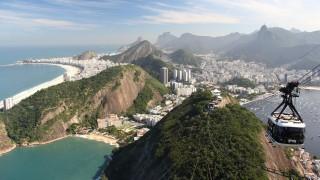 Aerial view of Sugarloaf Mountain and Rio de Janeiro coastline